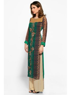Green Georgette Embroidered Kurta_AY-KR-HRC-703