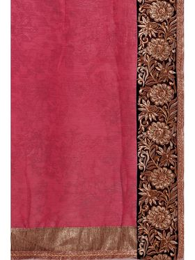Admyrin Embroidered Printed Georgette and Chiffon Saree -ab01