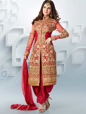 Adah Fashions Net Embroidered Semi Stitched Suit - Red