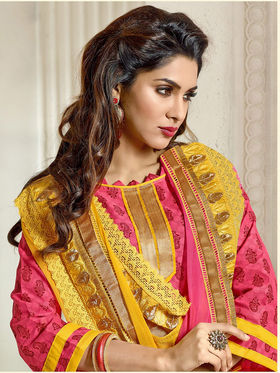 Adah Chanderi Embroidered Semi Stitched Salwar Kameez - Pink - 639-7002