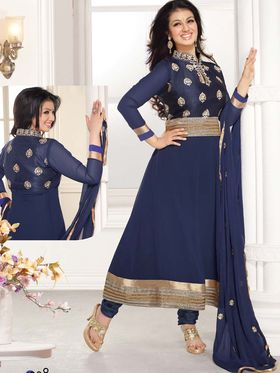Adah Fashions Georgette Embroidered Anarkali Suit - Navy Blue - 658-1008