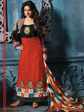 Adah Fashions Cotton Embroidered A-Line Salwar Suit - Orange & Black - 667-14001