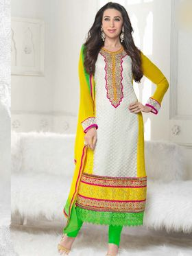 Adah Fashions Georgette Embroidered A-Line Salwar Suit - Multicolor - 673-5111