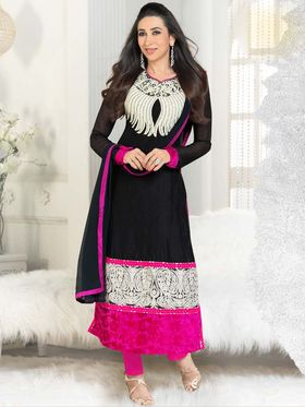 Adah Fashions Georgette Embroidered A-Line Salwar Suit - Black  - 673-5115