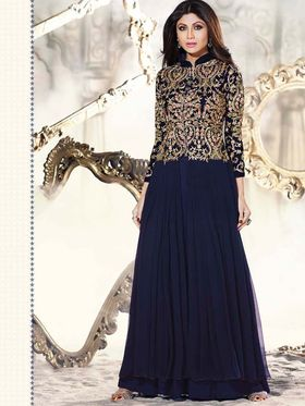 Adah Fashions Georgette Embroidered Anarkali Suit - Blue - 699-9002