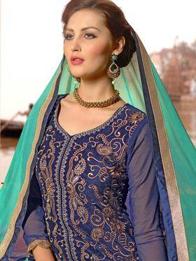 Adah Fashions Velvet Embroidered Semi Stitched Lehenga - Blue - 713-2009