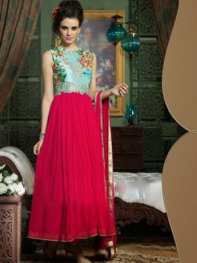 Adah Fashions Georgette Embroidered Semi Stitched Suit - Pink & Blue