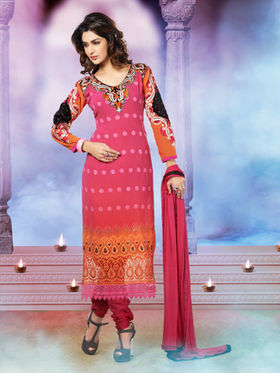 Adah Fashions Embroidered Georgette Semi-Stitched Pakistani Salwar Suit - Deep Pink