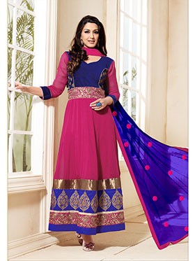 Adah Fashions Embroidered Georgette Semi-Stitched Anarkali Suit - Deep Pink & Royal Blue