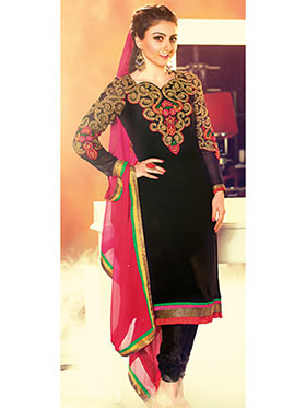 Adah Fashions Embroidered Georgette Semi-Stitched Anarkali Suit - Black - 445-66