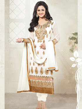 Adah Fashions Faux Georgette Embroidered Semi Stitched Salwar Kameez - White