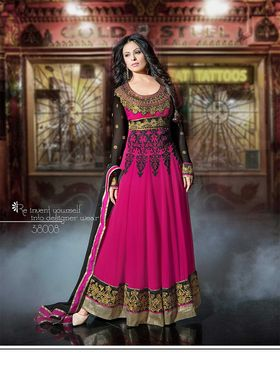 Adah Fashions Georgette Embroidered Semi Stitched Dress Material - Pink - 577-38008