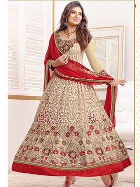 Adah Fashions Faux Georgette Embroidered Semi Stitched Anarkali Dress Material - Beige & Red_610-8005