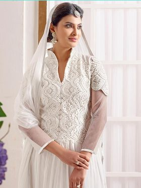 Adah Fashions Faux Georgette Embroidered Semi Stitched Anarkali Dress Material - White_610-8006