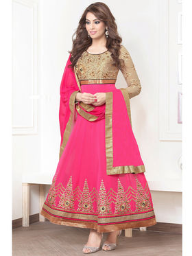 Adah Fashions Bemberg Embroidered Semi Stitched Designer Suit - Pink