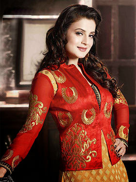 Adah Fashions Brasso Embroidered Semi Stitched Suits - Red