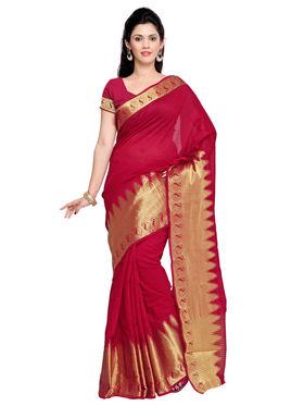 Admyrin Chanderi Plain Saree - Red - ADM-SR-SNH-10008