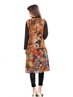 Admyrin Georgette Printed Kurti - Orange & Black - 1275