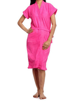 Porcupine Cotton Bath Robe - Dark Pink