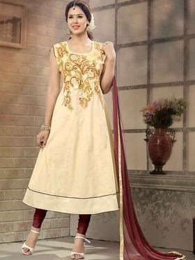 Viva N Diva Semi Stitched Cotton Embroidered Suit Amigo-12006