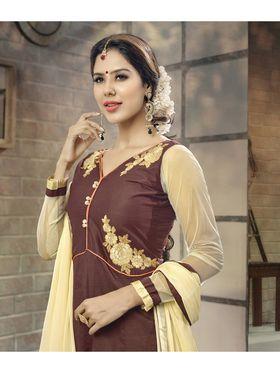 Viva N Diva Semi Stitched Cotton Embroidered Suit Amigo-12010