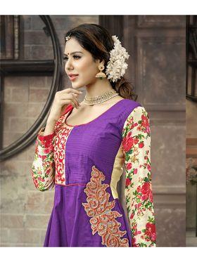 Viva N Diva Semi Stitched Cotton Embroidered Suit Amigo-12011