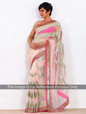 Arisha Net Embroidered Saree - White And Pink