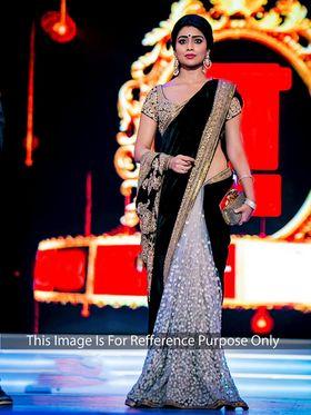 Arisha Net Embroidered Saree - Black And Cream