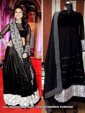 Arisha Georgette Embroidered Semi-Stitched Anarkali Suit - Black - 6105