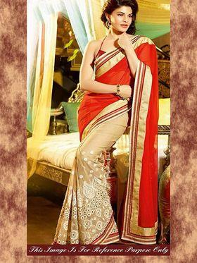 Arisha Georgette Embroidered Saree - Red And Beige