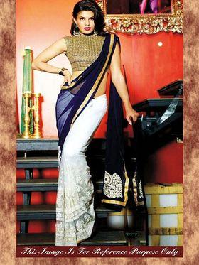 Arisha Georgette Embroidered Saree - White And Blue