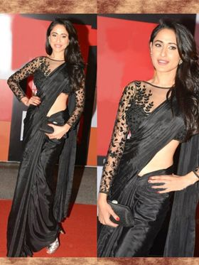 Arisha Georgette Embroidered Saree - Black - 7034
