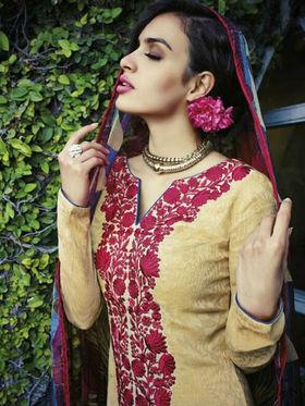 Arisha Enterprises Pure Cotton Embroidered Dress Material - Beige - ARA402