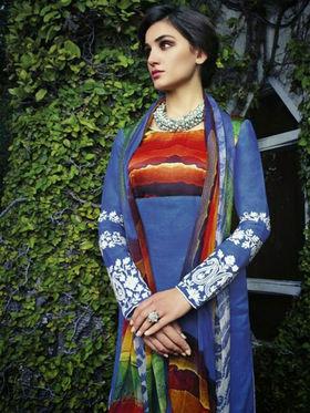 Arisha Enterprises Pure Cotton Embroidered Dress Material - Blue - ARA404