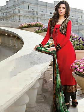 Arisha Enterprises Pure Cotton Embroidered Dress Material - Red - ARA409