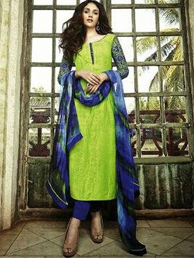 Arisha Enterprises Pure Cotton Embroidered Dress Material - Green - ARA412
