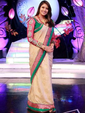 Arshia Beige Colour Designer Saree from Aaha Enna Porutham (4821)