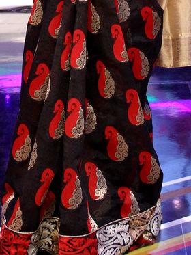 Attractive Embroidered Beige & Black Saree from Aaha Enna Porutham (NN1)