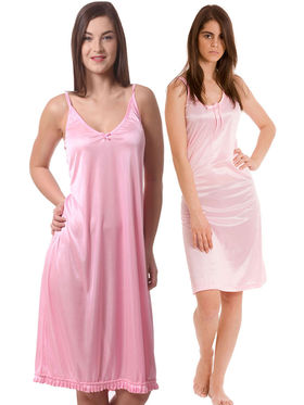 Set Of 2 Being Fab Satin Lycra Solid Nightwear -fbl01