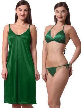 Set Of 3 Being Fab Satin Lycra Solid Nightwear -fbl41