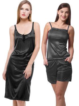 Set Of 3 Being Fab Satin Lycra Solid Nightwear -fbl13