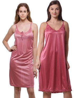 Set Of 2 Being Fab Satin Lycra Solid Nightwear -fbl03