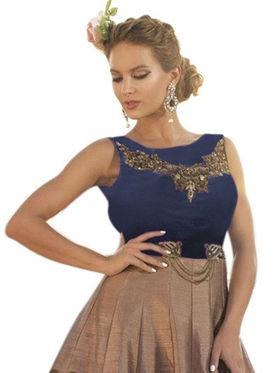 Styles Closet Embroidered Pure Bhagalpuri Semi-Stitched Blue & Brown Suit -Bnd-10014