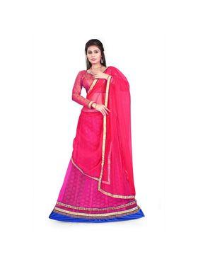 Styles Closet Designer Net & Brocked Semi Stitched Lehenga Choli -Bnd-Hl3