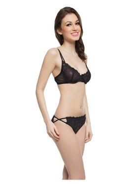 Clovia Nylon Lace Solid Bra & Panty Set -BP0153C13