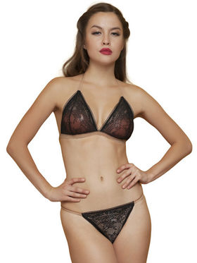 Clovia Nylon Lace Solid Bra & Panty Set -BP0216C24