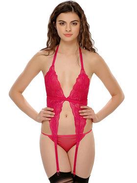 Clovia Nylon Lace  Powernet Solid Bra & Panty Set -BP0223P23