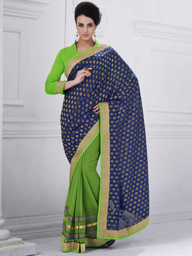 Bahubali Viscose Embroidered Saree - Violet - GA.50206