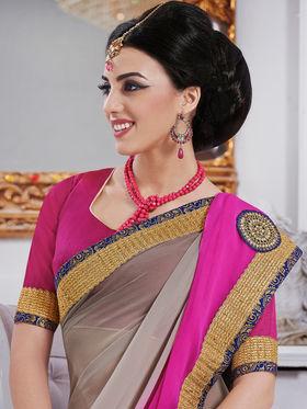 Bahubali Chiffon Embroidered Saree - Grey And Pink - GA.50210