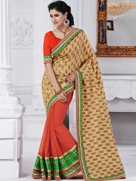 Bahubali Silk Jacquard Embroidered Saree - Gold - GA.50214